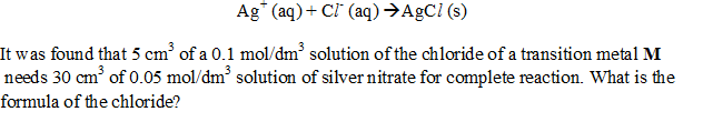 Silver ions react with chloride ions according to the equation below.