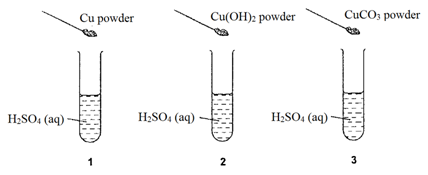 The diagrams show three experiments using dilute sulfuric acid. Three different powders are added to the acid. The mixtures are stirred. Which test tubes now contain Cu2+(aq) ions?